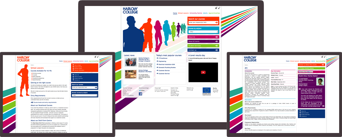 Harlow College website on different devices