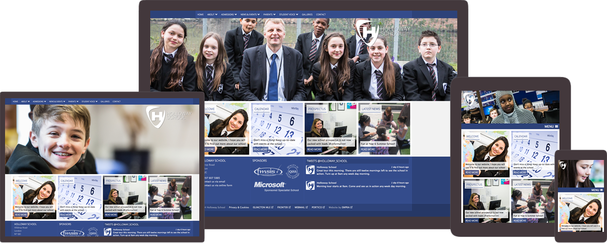 Holloway School website on different devices