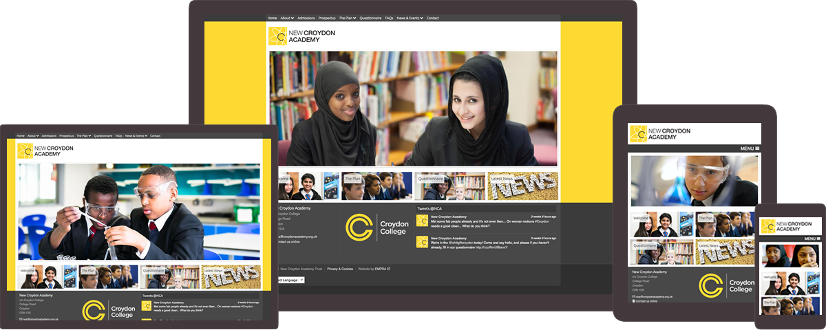New Croydon Academy website on different devices